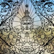 Buddha kuju klaasist uksel